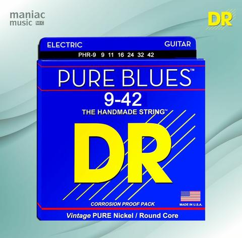 DR Strings PHR-9 (Senar Gitar Elektrik, 9-42, Pure Blues, Nickel, Round Core)