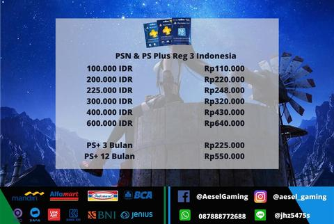 PSN Playstation Network Card Semua Region