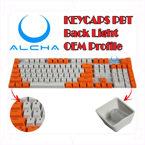 Keycaps Alcha PBT White mix color LED Gaming Mechanical Double shot