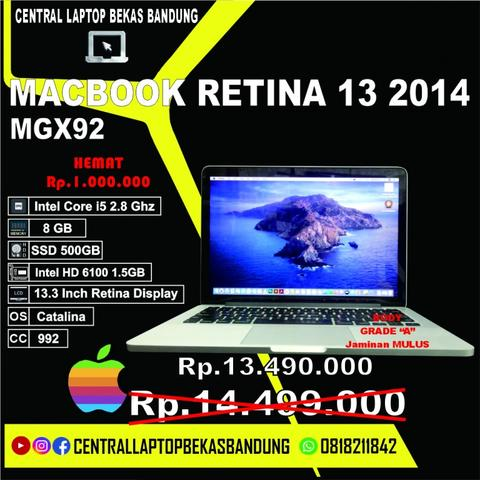 Macbook Pro Retina 13 2014 MGX92 CC992 - Core i5 8GB 500Gb - macbook bekas