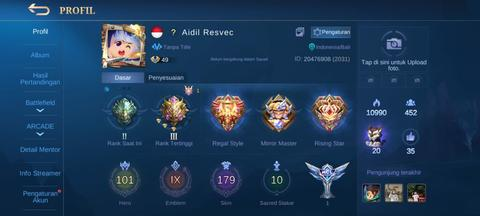 AKUN MOBILE LEGEND SULTAN MURAH 1 LEGEND 10 EPIC LIMITED ALL UNBIND