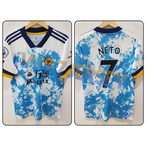 Jersey Wolverhampton Away 2020/2021 name player Neto + Patch EPL, No Room for Racism