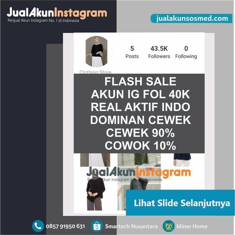 Jual Akun Instagram Followers 40K Real Aktif Indo