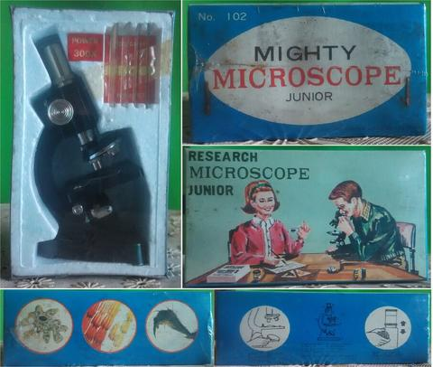 VINTAGE TOY EARLY 60s MIGHTY RESEARCH MICROSCOPE JUNIOR 300X