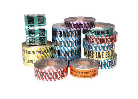 warning tape caution buried electric line below aluminium,detectable under ground