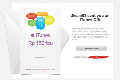 [DOS] iTunes Gift Card Certificate Indonesia Termurah !!!! #Trusted2014