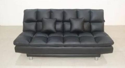 SOFA BED - REVIE OSCAR LEATHER EXTREME BLACK