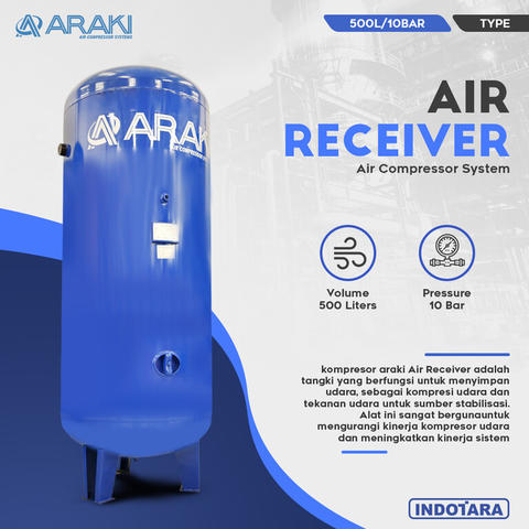 Tangki Udara / Air Receiver Tank 500L/10BAR - Araki ART-500/10