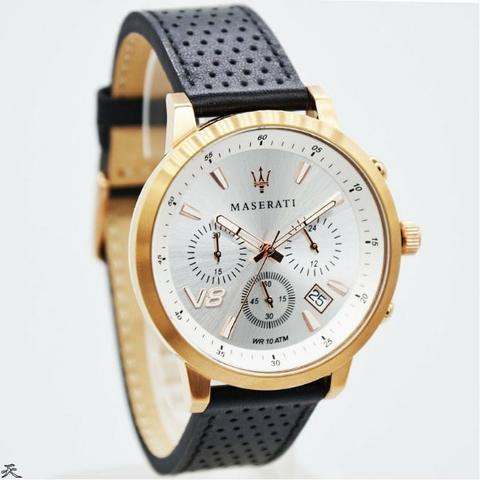 Jam Tangan Pria Maserati MR8871134001 Rosegold Leather Kulit Original Murah