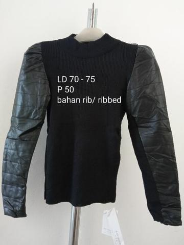 Black Ribbed Sweater Halterneck with Leather