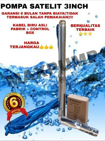 Pompa Air Satelit 3Inc 0.75HP plus 45M kbl biru Submersible Water Pump