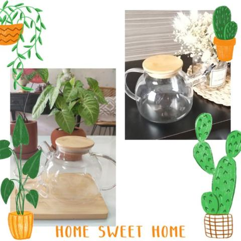 Korean Teapot 1L with Infuser and Wooden Top - Wedding Gift Teko Tutup Kayu