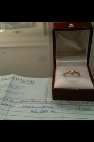 Terjual Cincin Berliandiamond 75018k Murmer Surat Lengkap