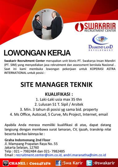 Lowongan Kerja Site Manager Teknik Kaskus
