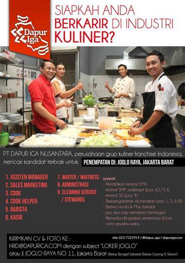 Crew Restoran Cook Cook Helper Server Kasir Dll Di Joglo Raya Kaskus