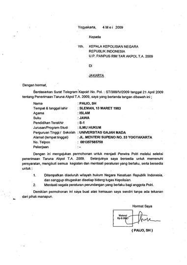 Contoh Surat Permohonan Menjadi Prajurit Tni Au Berbagi Contoh Surat