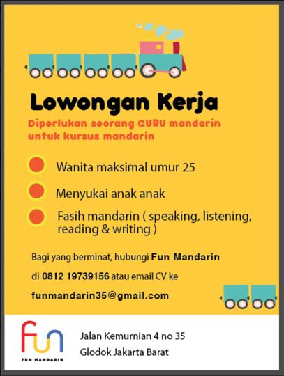 Lowongan Kerja Guru Bahasa Mandarin Di Jakarta Seputaran Guru
