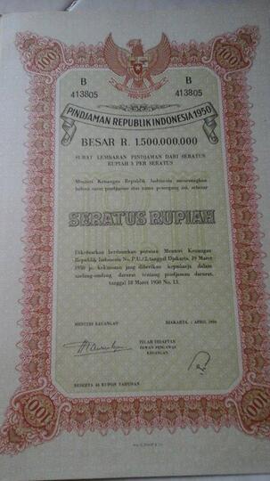 Jual Surat Utang Negara Surat Obligasi Indonesia 1950