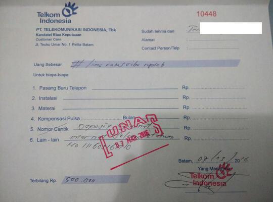 Biaya Siluman Oleh Oknum Telkom Disertai Bukti Kaskus