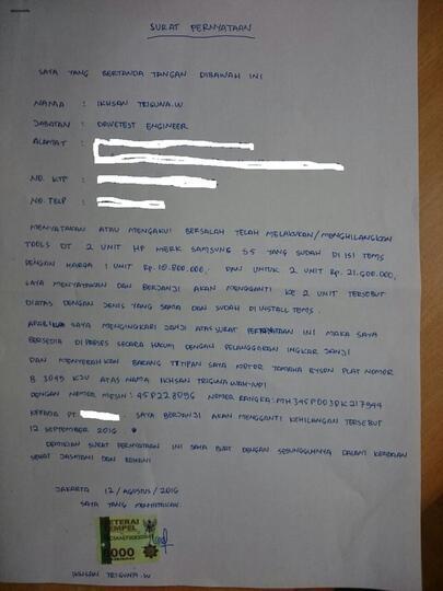 Melanggar Surat Pernyataan Yg Bermaterai Bisa Di Tuntut