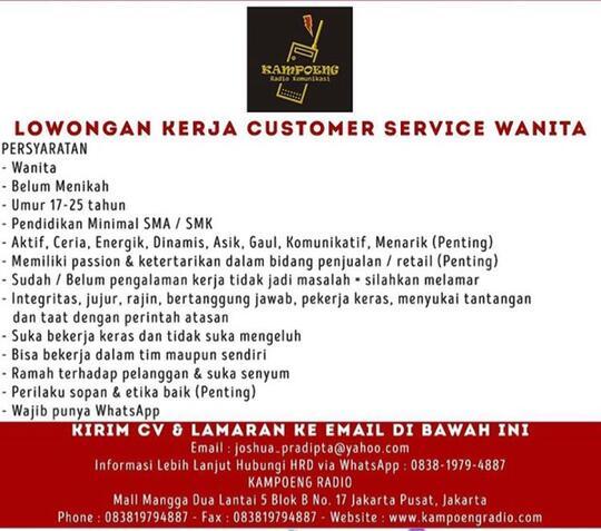 Loker Customer Service Wanita Di Jakarta Barat Jakarta Pusat Mall Mangga Dua Kaskus