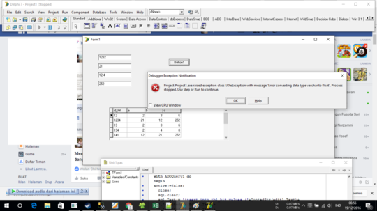 insert data float (hasil perkalian) ke sql server melalui delphi