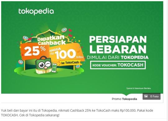 Merasa di Bohongi promo CashBack Tokopedia TOKOCASH