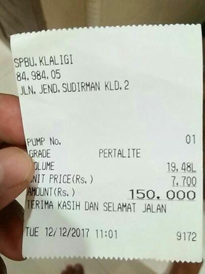 Beredar Foto Struk Pembelian Bbm Di Papua Harga Yang