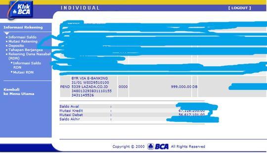 Hati-hati dgn LAZADA.CO.ID pembayaran berhasil melalui BCA pesanan dibatalkan