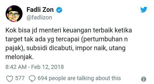 Fadli Zon: Kok Bisa Sri Mulyani Jadi Menteri Keuangan Terbaik Dunia?