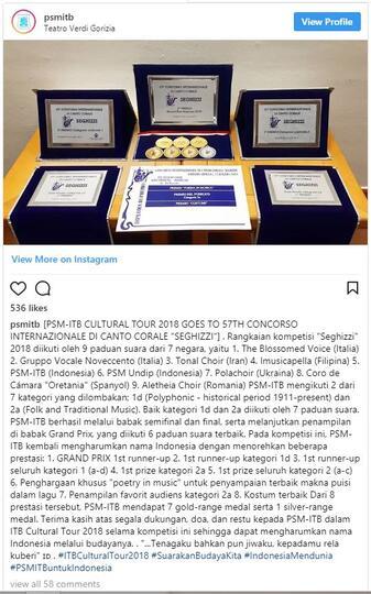 Paduan Suara ITB Panen Medali di Italia