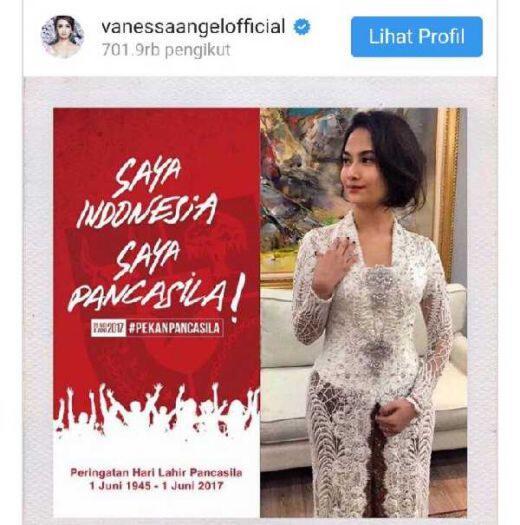 Vanessa Angel Saya Indonesia Saya Pancasila Netizen Saya