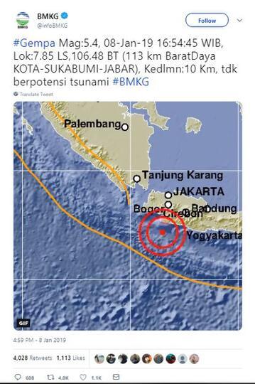 Sukabumi Diguncang Gempa 5,4 SR, Getaran Terasa hingga Bandung