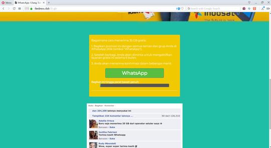 Percobaan Penipuan WhatsApp Ulang Tahun ke-10 bagi-bagi kuota internet 35 GB