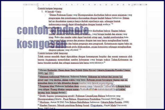 Cara Pengutipan Referensi Skripsi Dan Jurnal Footnote Bodynote