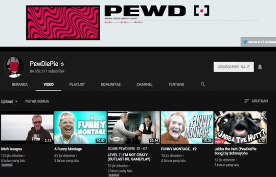 10 Top YouTuber dengan jumlah subscribers terbanyak di Dunia tahun 2019. Cekidot!