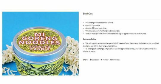Unik Toko Online Australia Menjual Lilin Aroma Terapi Beraroma Mie Goreng