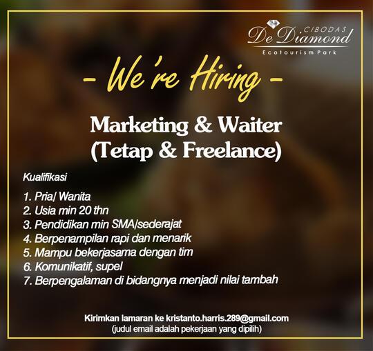 Lowongan Kerja Marketing Waiter Tetap Freelance Bandung Kaskus