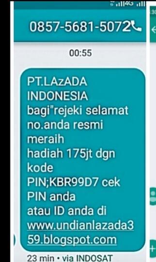 Fake Sms Pt Lazada Member Hadiah Uang 175 Juta Kaskus