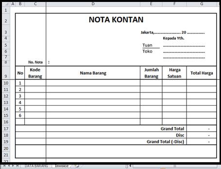 Nota Kontan Beserta Contoh Pembuatan Di Excel Bisa Gan