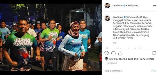 Sebut Istilah 'Iktikaf Run', Sandiaga Uno Disentil Putri Gus Mus