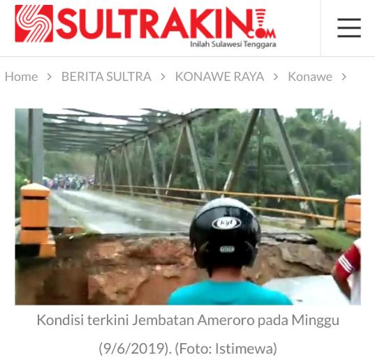 Sultra Kebanjiran Jembatan Longsor