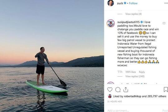 Menteri Susi Tantang Zuckerberg Lomba Paddle, Hadiahnya?