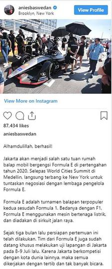 Selain ke Washington, Anies ke New York Bahas Jakarta Tuan Rumah Formula E