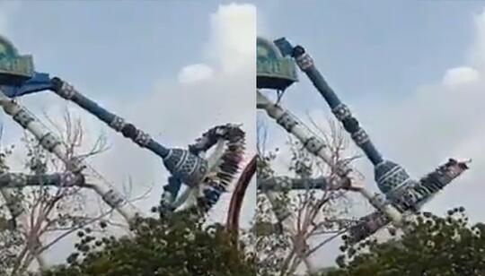 """Terjadi Lagi! Viral VIDEO Tragedi Wahana """"SWING PENDULUM"""" Patah Di India!"""