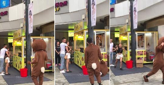 """Pacarnya Malah """"SELINGKUH"""", Perjalanan 2.400KM Pria Berkostum Beruang Ini GAGAL!"""