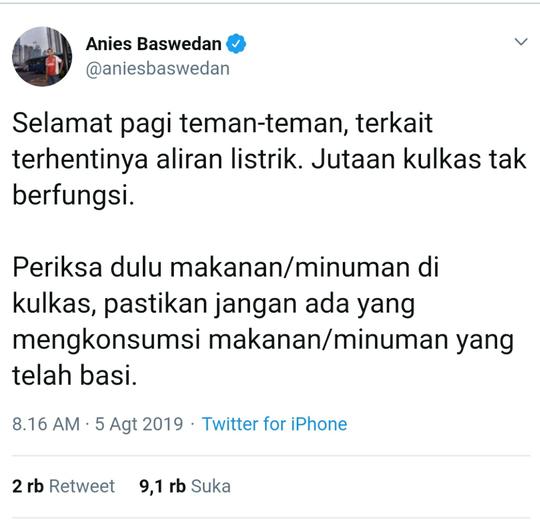 Listrik Masih Padam di Sebagian Wilayah Jakarta, Anies Imbau Warga Periksa Isi Kulkas