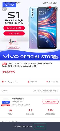 Seller Vivo Indonesia di Shopee mall penipu atas produk yang di jual Vivo S1