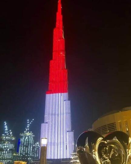 Bangga! Merah Putih Selimuti Menara Burj Khalifa di Dubai Memperingati HUT ke-74 RI