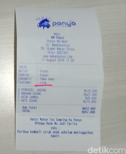 Viral Struk 'Customer Cina', RM Ponyo Malabar Bandung Angkat Bicara